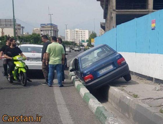 عکس جالب تصادف پراید چپ شدن پراید تصاویر دیدنی حوادث عجیب غریب حوادث واقعی